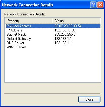 Windows XP - Finding the IP Number and MAC Address of a Network Card