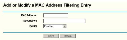 Add or Modify a Mac Address Filtering Entry