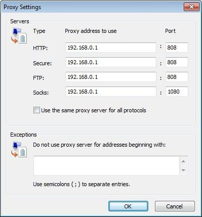 How to set proxy settings in chrome?