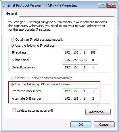 Configure DNS Address