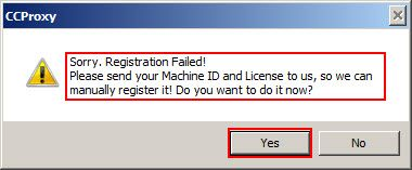 Registration failed