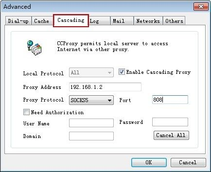 Select Enable Cascading Proxy on Cascading